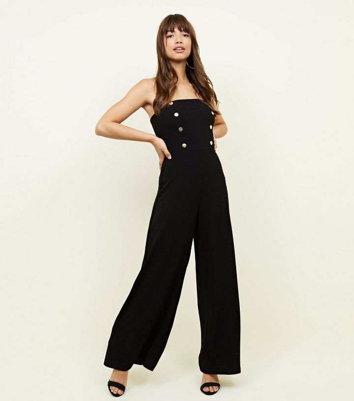 0e05805449 Black Double Button Front Bandeau Jumpsuit