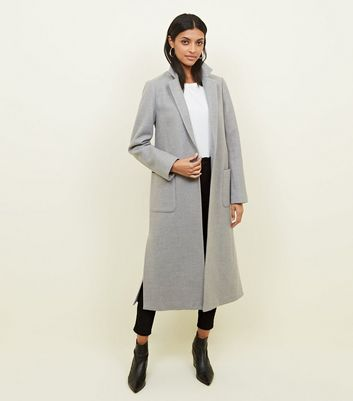 Pale Grey Bar Back Revere Collar Maxi Coat