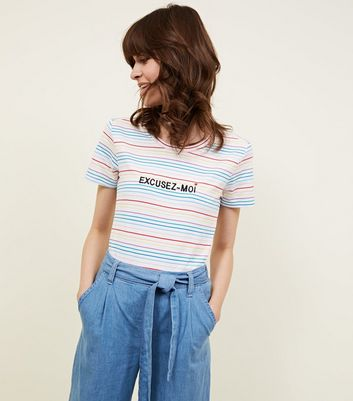 Rainbow Stripe Excusez Moi Embroidered T-Shirt