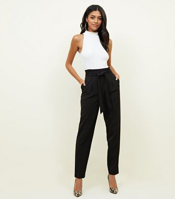 Tall Black Tie Front Tapered Trousers