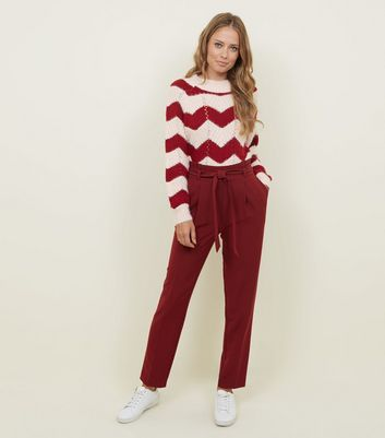 Tall Burgundy Tapered Trousers