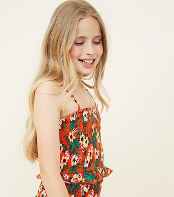 Girls Orange Floral Shirred Beach Top