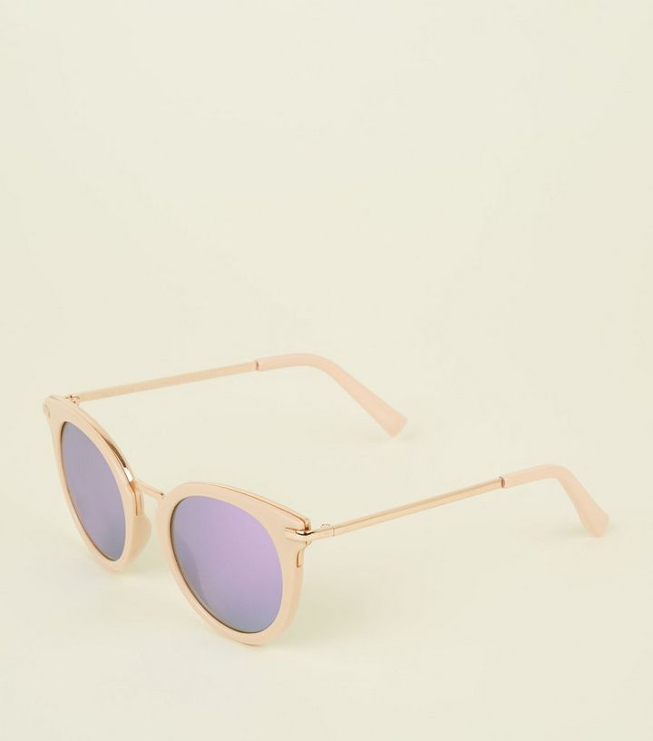 18c0b93e9 Pink Rose Gold Trim Mirrored Lens Sunglasses | New Look