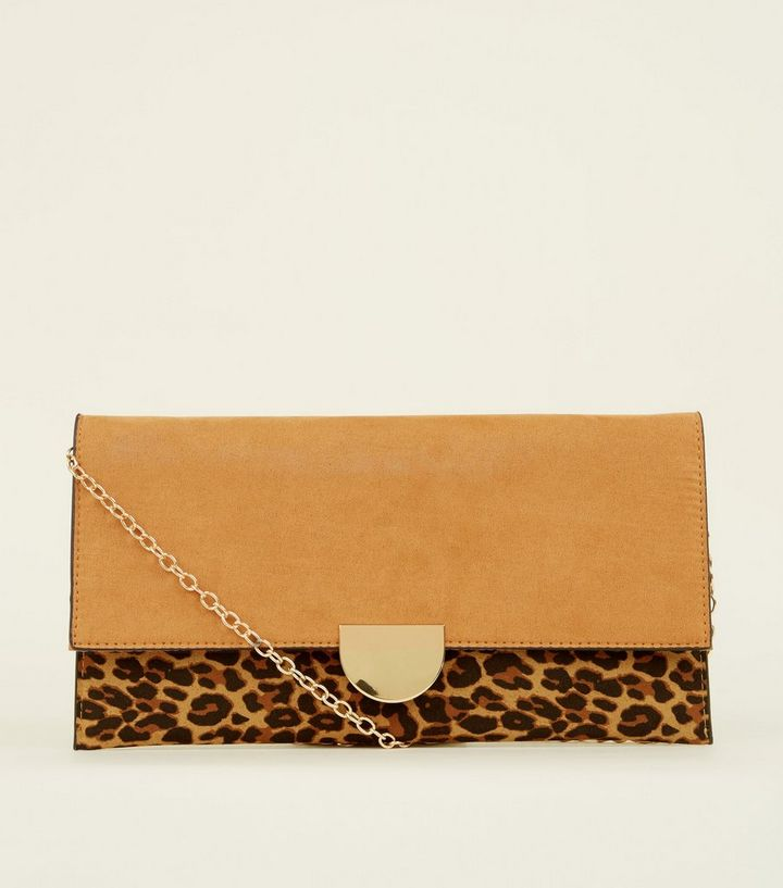 wholesale price up-to-datestyling great variety models Brown Leopard Print Contrast Clutch Bag Add to Saved Items Remove from  Saved Items