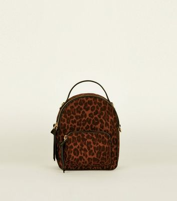 Brown Convertible Leopard Print Micro Backpack
