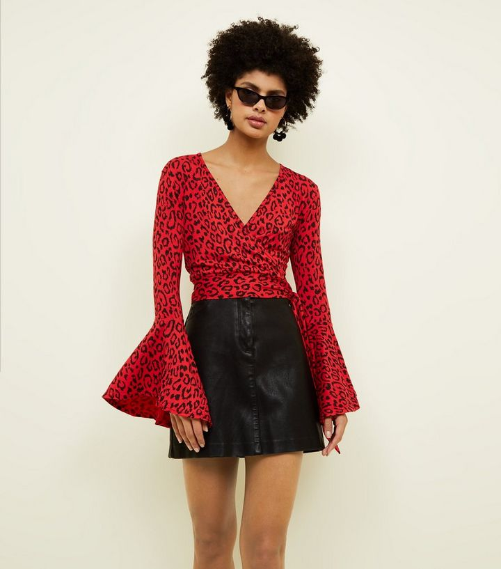 132167da0afe Red Leopard Print Bell Sleeve Wrap Top | New Look