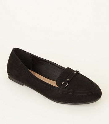 Black Suedette Ring Strap Front Loafers