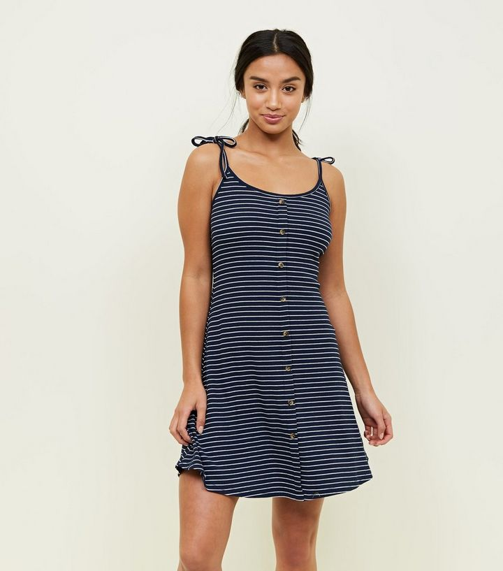 597980c3a36d3 Petite Navy Stripe Button Front Skater Dress | New Look