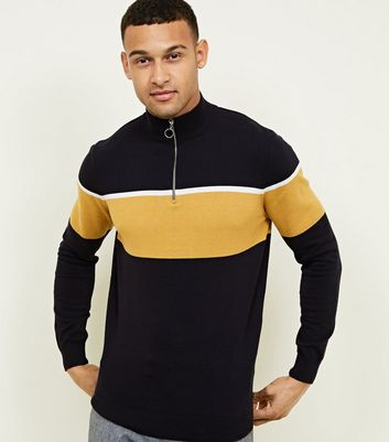 Navy Colour Block Funnel Neck Zip Through Jumper
