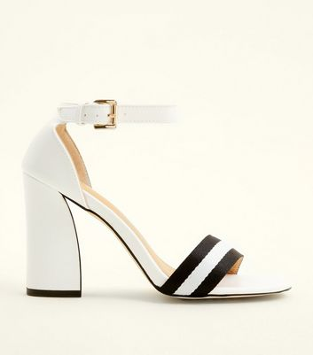 White Stripe Strap Block Heel Sandals