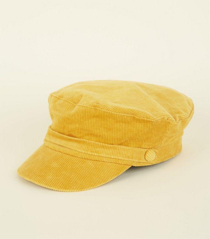 ad784e3f88c Mustard Corduroy Baker Boy Hat