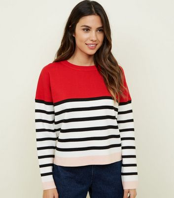 Red Stripe Colour Block Jumper