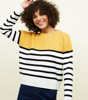 Mustard Stripe Colour Block Jumper
