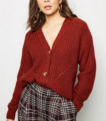 Rust Chunky Pointelle Knit Cardigan