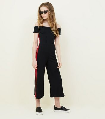 Girls Black Side Stripe Bardot Culotte Jumpsuit
