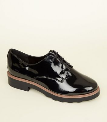 Black Patent Chunky Lace Up Shoes   New