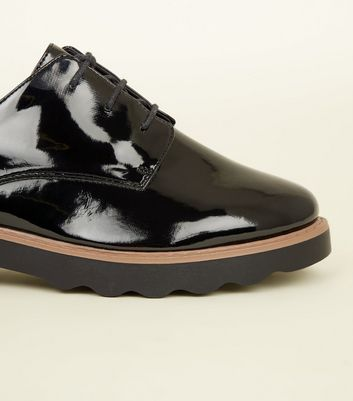 Black Patent Chunky Lace Up Shoes | New