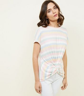 Pastel Stripe Ribbed Twist Front T-Shirt