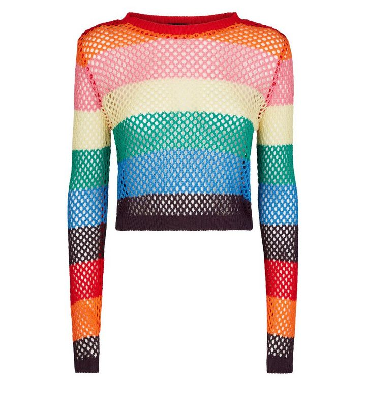 2f1a2b05f36 Rainbow Stripe Pointelle Cropped Jumper Add to Saved Items Remove from  Saved Items