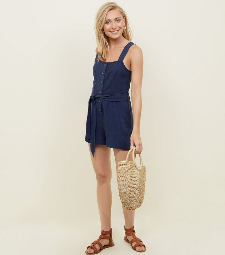 3f68f29079a5 ... Petite Navy Linen-Look Button Through Playsuit. ×. ×. ×. Shop the look