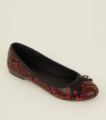 Red Faux Snake Bow Front Ballet Pumps