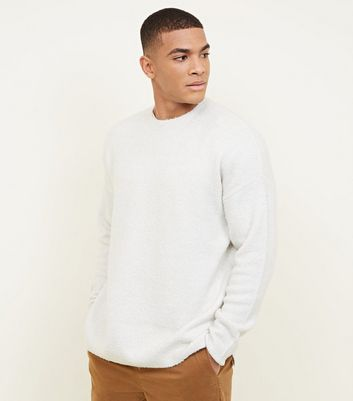 Off White Boucle Dropped Shoulder Slouchy Jumper