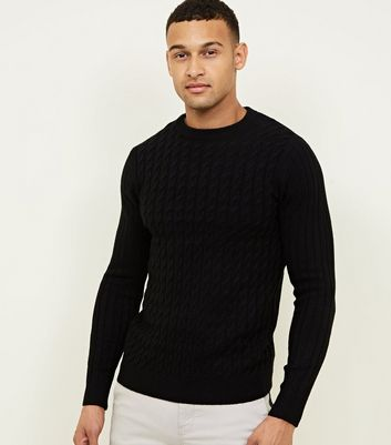 Black Cable Knit Long Sleeve Jumper