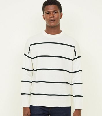 Off White Stripe Crew Neck Jumper