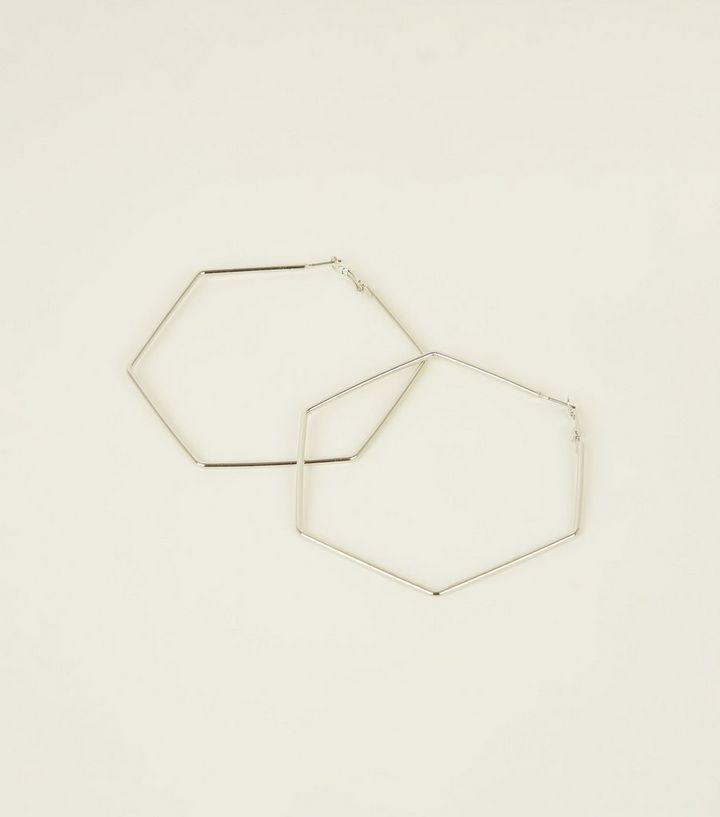 Silver Hexagon Earrings New Look