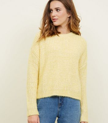 Yellow Fluffy Ribbed Dropped Shoulder Jumper
