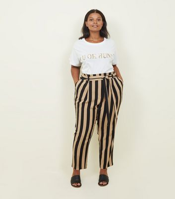 92dd49265e3139 Curves Black Stripe Tie Waist Trousers | New Look
