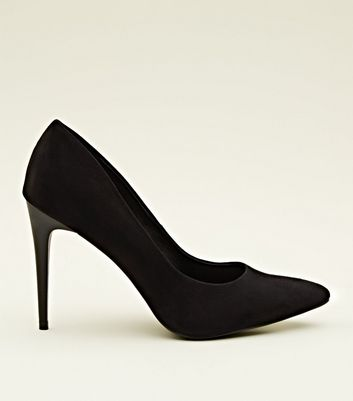 Black Suedette Stiletto Heel Pointed Courts