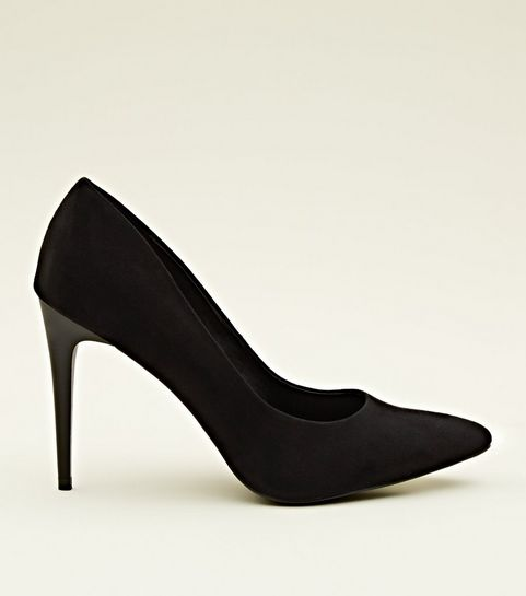 64e356fd54db ... Black Suedette Stiletto Heel Pointed Courts ...