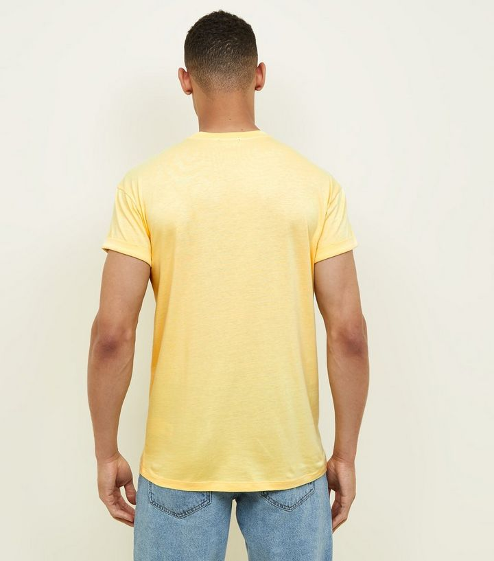 Pale Yellow Cactus Embroidered T Shirt New Look