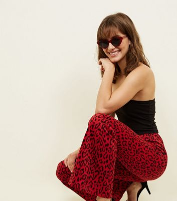 Innocence Red Leopard Print Flared Trousers New Look