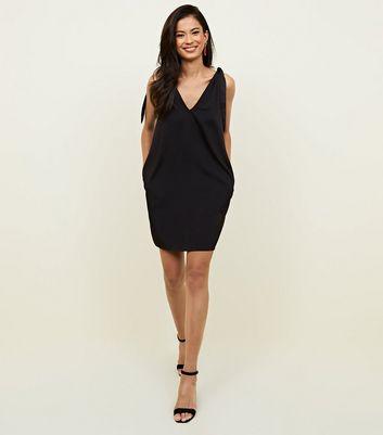 Noisy May Black Tie Shoulder Mini Dress New Look