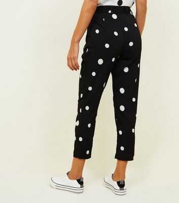Noisy May Black Spot Print Tapered Trousers New Look