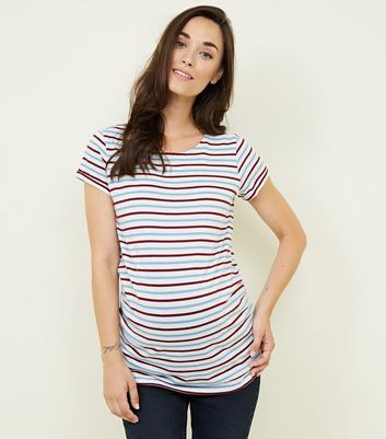 Maternity Pale Blue Stripe Short Sleeve T-Shirt