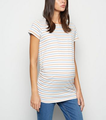 Maternity Multicoloured Stripe Short Sleeve T-Shirt