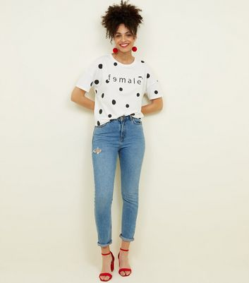 Noisy May White Spot Print Female Slogan T-Shirt New Look