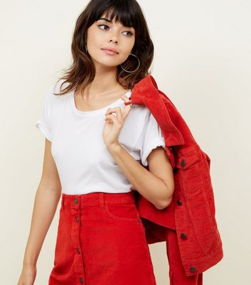 Noisy May Red Corduroy Button Front Skirt New Look