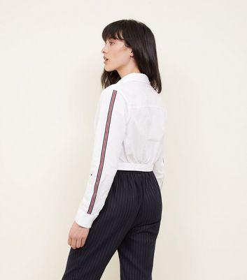 Innocence White Stripe Sleeve Twist Front Shirt New Look