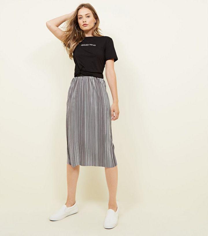 5509cd68e2 Black Stripe Pleated Midi Skirt   New Look