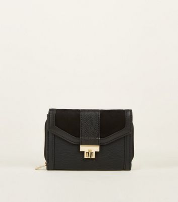 Black Faux Snake and Suedette Purse