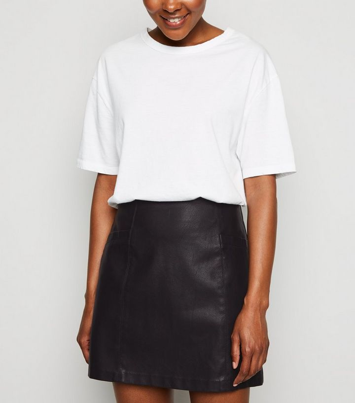2aabcd361f Petite Black Faux Pocket Leather-Look Mini Skirt | New Look