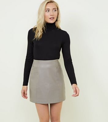 Petite Mink Faux Pocket Leather-Look Mini Skirt