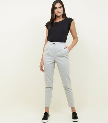 Tall Grey Tapered Pull On Trousers