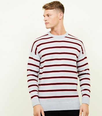 Pale Grey Stripe Crew Neck Jumper