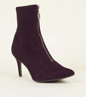 Dark Purple Zip Front Kitten Heel Sock Boots