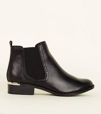 Black Leather Metal Trim Brogue Chelsea Boots